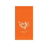 "Wedding Printed Guest Towel Napkins - Orange - 4-1/4"" x 8-1/2"""