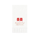 "Wedding Printed Guest Towel Napkins - White - 4-1/4"" x 8-1/2"""