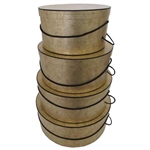 Rigid Nested Hat Boxes - Gold Marble Pattern
