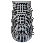 Rigid Nested Hat Boxes-Black & White Polka Dots