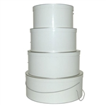 Rigid Nested Hat Boxes-White with Silver Trim