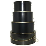 Rigid Nested Hat Boxes-Black Gloss with Gold Trim