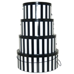 Rigid Nested Hat Boxes-Black & White Stripes