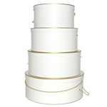 Rigid Nested Hat Boxes-White with Gold Trim