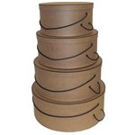 Rigid Nested Hat Boxes-Kraft with Black Trim