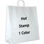 1 Color Hot Stamped Hippo White Kraft Paper Shopping Bag