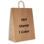 1 Color Hot Stamped Impala Kraft Paper Shopping Bag