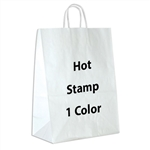 1 Color Hot Stamped Impala White Kraft Paper Shopping Bag