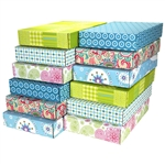 Large Assortment Patterned Shipping Boxes - 48 Pack