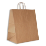 "Lion 100% Recycled Kraft Paper Shopping Bags: 14"" x 10"" x 15"" - 200 Bags/Case"