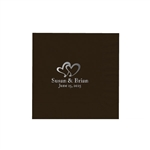 "Wedding Printed Luncheon Napkins - 6-3/4"" x 6-3/4"" Chocolate"