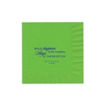 "Wedding Printed Luncheon Napkins - 6-3/4"" x 6-3/4"" Citrus Green"