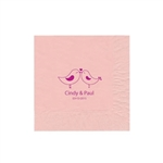 "Wedding Printed Luncheon Napkins - 6-3/4"" x 6-3/4"" Classic Pink"