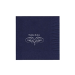 "Wedding Printed Luncheon Napkins - 6-3/4"" x 6-3/4"" Navy Blue"