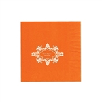 "Wedding Printed Luncheon Napkins - 6-3/4"" x 6-3/4"" Orange"