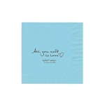 "Wedding Printed Luncheon Napkins - 6-3/4"" x 6-3/4"" Pastel Blue"