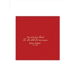 "Wedding Printed Luncheon Napkins - 6-3/4"" x 6-3/4"" Red"