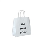 1 Color Hot Stamped Lynx White Kraft Paper Shopping Bag