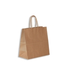 "100% Recycled Kraft Paper Shopping Bags Lynx: 8"" x 4"" x 8"" - 250 Bags/Case"