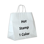1 Color Hot Stamped Panther White Kraft Paper Shopping Bag