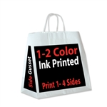 1 & 2 Color Ink Print White Kraft Bags - All Over Print