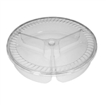 "64 oz. Plastic Food Containers - 10"" - 3 Compartment Tray - with Covers - 40 per pack"