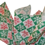 Christmas Snowflake Check Red/Green Patterned Tissue Paper