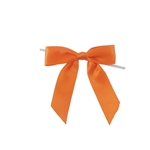 Pre-Tied Satin Twist Tie Bows - Orange
