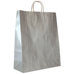 "Silver Metallic Paper Shopping Bags 16"" x 6"" x 19"""