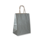 "Metallic Silver Paper Shopping Bags 8"" x 5"" x 10"""