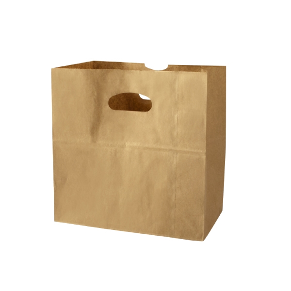 Kraft Grocery And Take Out Bags With Die Cut Handles