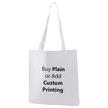 "White Non-Woven 15"" x 16"" Tote Bags - 28"" Handle"