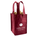 Burgundy Non-Woven 4 Bottle Wine Tote Bags