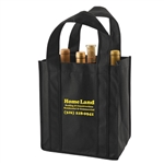 Black Non-Woven 6 Bottle Wine Tote Bags