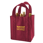 Burgundy Non-Woven 6 Bottle Wine Tote Bags