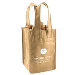 Natural Non-Woven 4 Bottle Wine Tote Bags