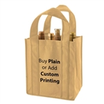 Natural Non-Woven 6 Bottle Wine Tote Bags
