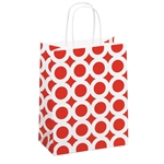 Recycled Red & White Circles Paper Shopping Bags