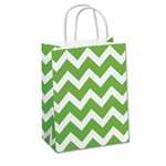 Recycled Lime Chevron Paper Shopping Bags