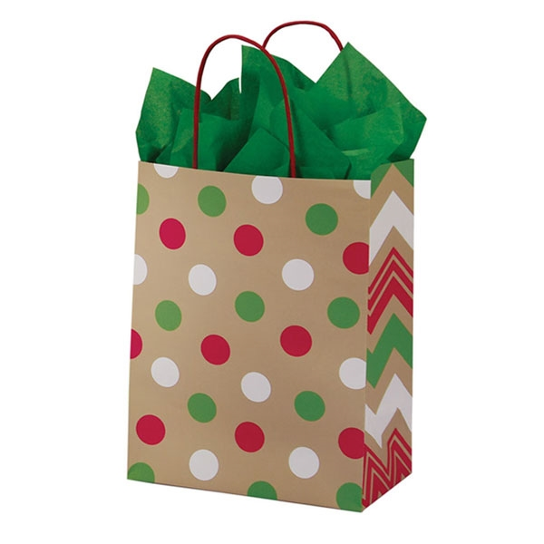 Recycled Christmas Dots Paper Shopping Bags