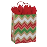Recycled Christmas Chevron Paper Shopping Bags