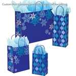 Snowflake Swirl/Waterfall Patterned Shopping Bags