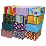 Small Assortment Patterned Shipping Boxes - 48 Pack