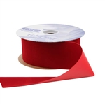Holiday Red Vel-Pruf flocked polypropylene ribbon