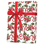 Gift Wrap Red Ribbons & Canes Pattern X-3028