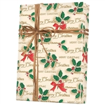 Gift Wrap Scripted Holly Pattern X-4998