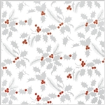 Jeweler Gift Wrap Metallic White Holly Pattern X-9034
