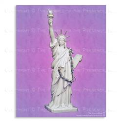 Goddess of Liberty with Violet Background