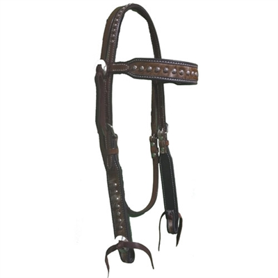 Red River Cowhide Browband Headstall With Dots