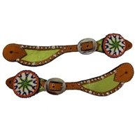 Alamo Spur Straps with Beaded Conchos